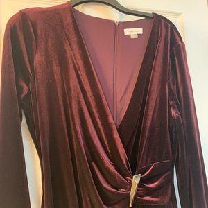 Calvin Klein maroon velvet long sleeve v neck gown